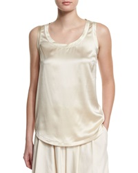 Brunello Cucinelli Reversible Scoop Neck Tank W Satin Trim Butter Yellow