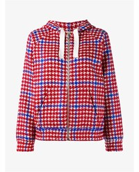 Jour Ne Houndstooth Embroidered Wool Blend Hoodie Red Multi Coloured White Denim