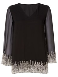 Raishma Embroidered V Neck Tunic Top Black
