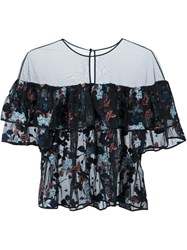 Cinq A Sept Floral Embroidery Sheer Blouse Black