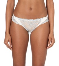 Heidi Klum Intimates Liberty Shine Floral Lace And Satin Bikini Briefs Lilac Marble Lavender