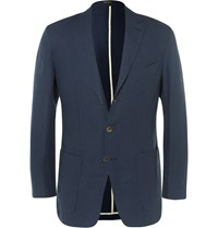 Rubinacci Navy Slim Fit Linen Blazer Blue