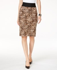 Inc International Concepts Petite Printed Pencil Skirt Only At Macy's Cheetah