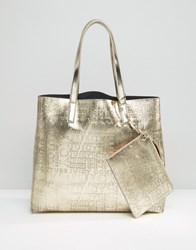 Juicy Couture Gold East West Tote Bag Metallic White Gold