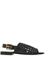 Giuseppe Zanotti Woven Leather Slingback Sandals Black