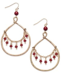 Inc International Concepts Gold Tone Draped Red Bead Gypsy Hoop Earrings Only At Macy's