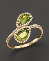 Bloomingdale's Peridot And Diamond Ring In 14K Yellow Gold .20 Ct. T.W. Gold Green