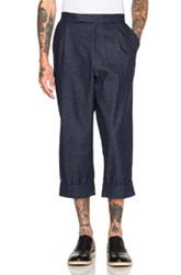J.W.Anderson J.W. Anderson Crop Pleat Back Trousers In Blue