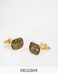 Reclaimed Vintage Scroll Cufflinks In Gold Gold