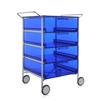 Kartell Mobil 4 Drawer Handles And Wheels Blue