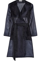 Milly Silk Organza Trench Coat Blue