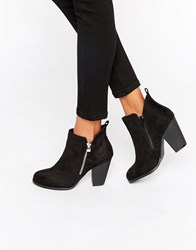 Call It Spring Kokes Zip Heeled Ankle Boots Black Nubuck