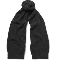 Dolce And Gabbana Ribbed Cashmere Scarf Gray