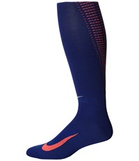 Nike Elite Running Lightweight Over The Calf Deep Royal Blue Hot Lava Metallic Silver Knee High Socks Shoes