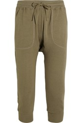 R 13 R13 Cropped Cotton Jersey Track Pants Army Green