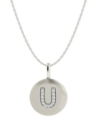 Macy's 14K White Gold Necklace Diamond Accent Letter U Disk Pendant