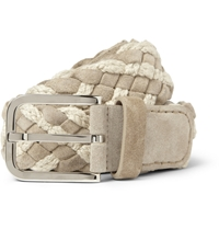 Loro Piana Taupe 4Cm Woven Suede And Cotton Belt Gray