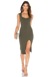 Nookie Captivate Square Neck Midi Dress Olive