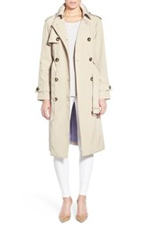 Women's London Fog Raglan Sleeve Double Breasted Long Trench Coat Khaki