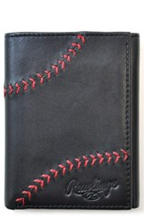 Rawlings Sports Accessories Men's Baseball Stitch Leather Trifold Wallet