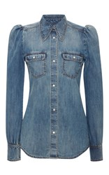 Roberto Cavalli Button Up Denim Shirt Blue