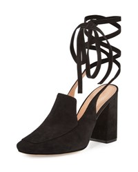 Sigerson Morrison Posie Suede Ankle Wrap Loafer Pump Black