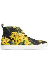 Dolce And Gabbana Floral Print Canvas High Top Sneakers Yellow