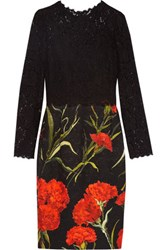 Dolce And Gabbana Lace Floral Print Brocade Dress Black