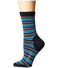 Icebreaker Lifestyle Ultra Light 3Q Crew Stripe Tease 1 Pair Pack Admiral Pelorus Glacier Women's Crew Cut Socks Shoes Green