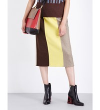 Marni Colourblock Wool Blend Midi Skirt Dijon