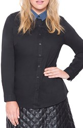 Eloquii Contrast Collar Stretch Cotton Shirt Plus Size Black Chambray