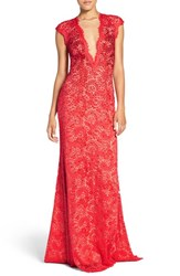 Jovani Women's Embellished Lace Gown Cranberry Nude