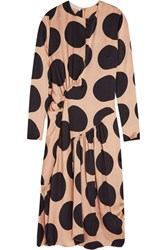 Stella Mccartney Polka Dot Silk Midi Dress Blush
