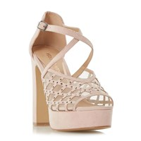 Head Over Heels Mystique Rhinestone Platform Sandals Nude