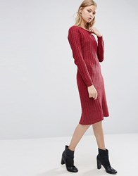 Love And Other Things Long Sleeve Knitted Dress Red Wine