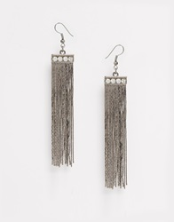 Paper Dolls Paperdolls Tassel Drop Earrings Gunmetal