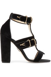 Paul Andrew Aslihan Velvet Sandals Black