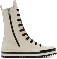 Ann Demeulemeester Ivory Leather High Top Sneakers