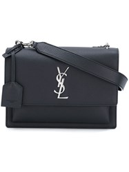 Saint Laurent Medium 'Sunset Monogram' Satchel Black