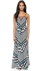 Twelfth St. By Cynthia Vincent Lace Up Maxi Dress Stripe Polka Dot