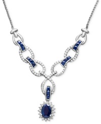 Macy's 14K White Gold Necklace Sapphire 2 Ct. T.W. And Diamond 1 2 Ct. T.W Toggle Blue