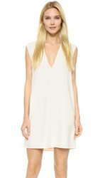 Helmut Lang Deep V Neck Sleeveless Dress Ivory