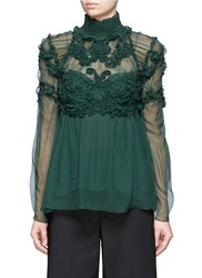 Chloe Raised Embroidery Silk Crepon Blouse Green