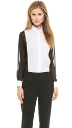 3.1 Phillip Lim Chiffon And Canvas Tux Shirt Black