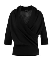 Morgan Lace Back Panel Wrap Front Top Black