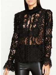 Anna Sui Magical Mystery Lace High Neck Blouse Black