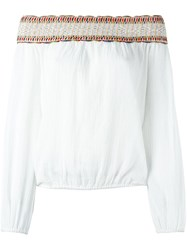 Tory Burch Embroidered Off Shoulder Blouse White