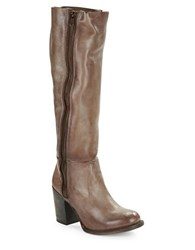 Freebird Beau High Heel Knee High Distressed Leather Boots Stone Grey
