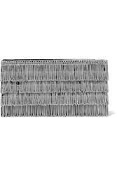 Jimmy Choo Tux Chain Embellished Suede Clutch Silver