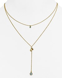 Rebecca Minkoff Layered Pave Pendant Necklace 15 Turquoise And Crystal